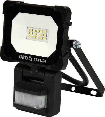 Светодиодный прожектор | с датчиком движения | SMD LED 10W 900LM YATO YT-81826, фото 2