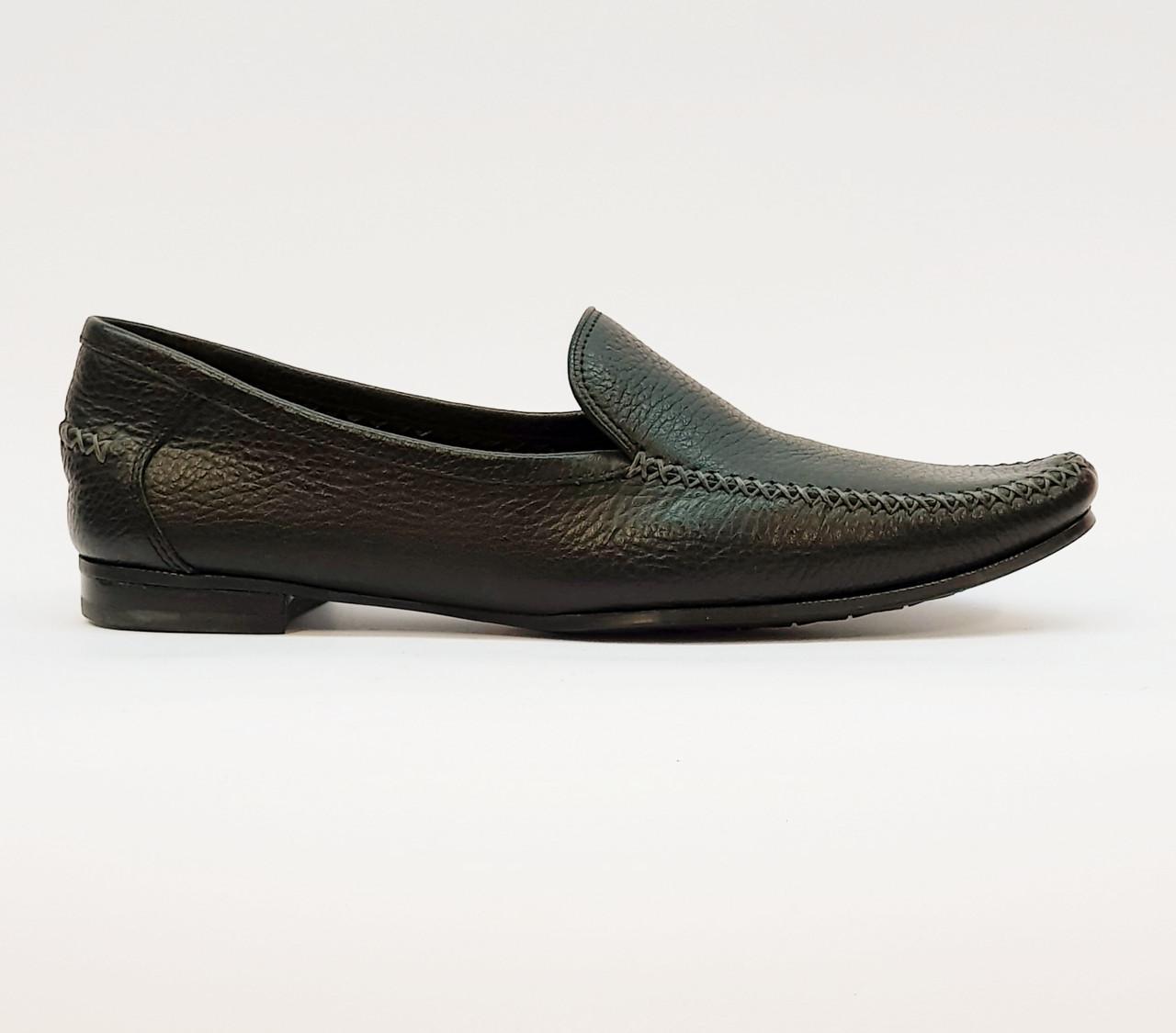 Лоферы туфли женские весна-осень натуральная кожа на плоской подошве черные