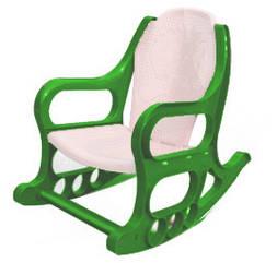 Детское кресло качалка пластмассовое, ЗЕЛЕНО БЕЛОЕ, Од