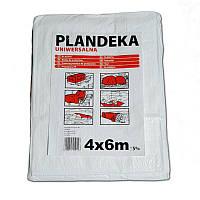 Тент Брезент Пландека Тарпаулин защитный (70g\m2) 4x6 Польша белый (Wimar)