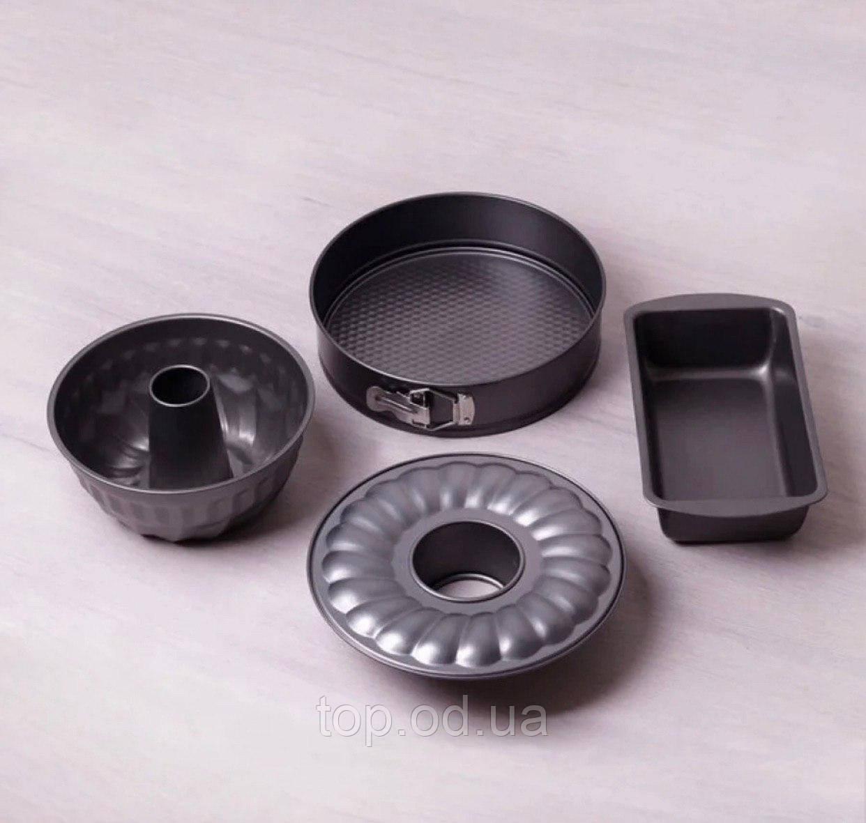 A6030 Набір форм для запікання 4пр. (28*15*7см,роз'ємний коло 26см, 22см для кексу)з вуглецевої сталі