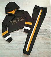 Подростковый спортивный костюм с укороченным худи черный