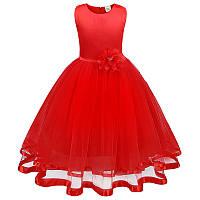 Красивое праздничное красное платье с цветком для девочки