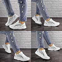 Женские белые кроссовки Crunch 1613 сетка эко-кожа  Размер 37 - 23 см по стельке, обувь женская