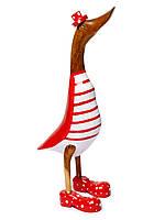 Статуэтка утка красно-белая в цилиндре,высота 25см