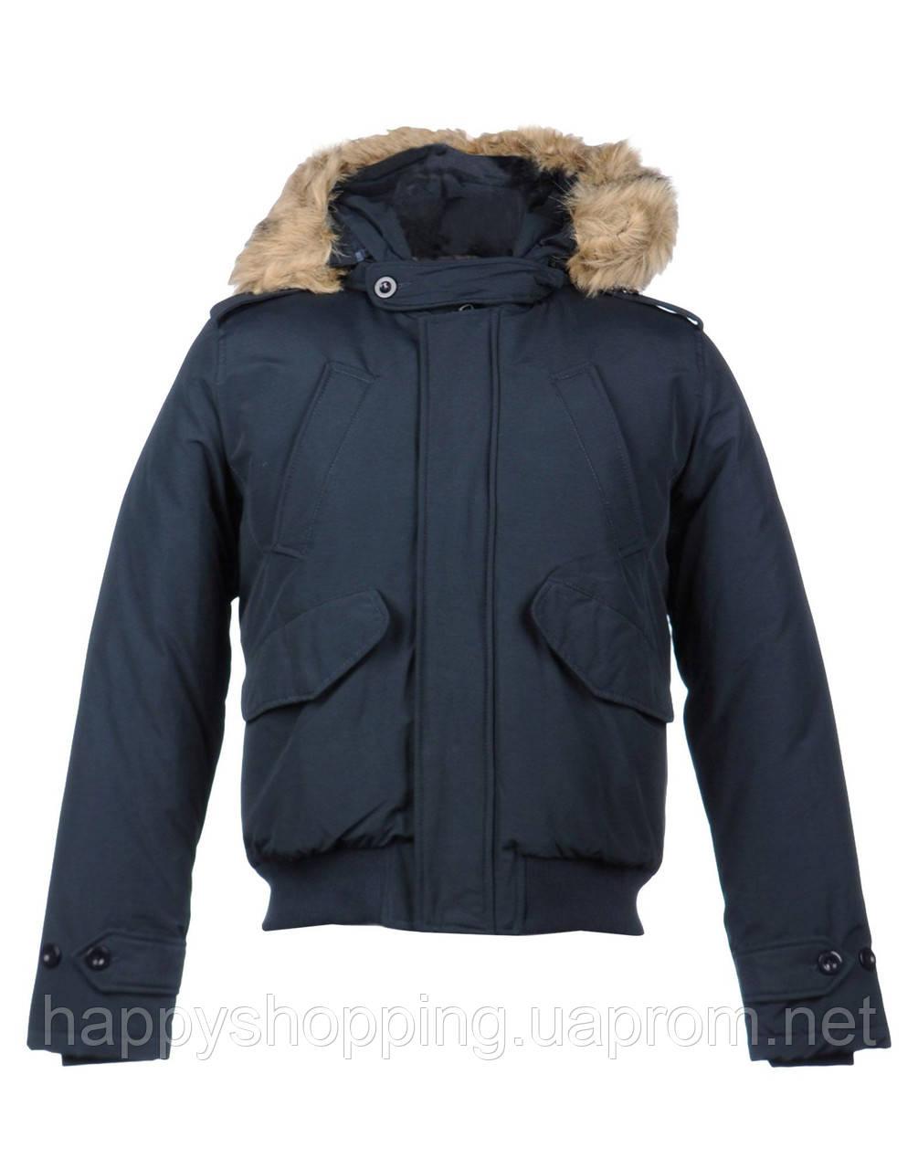 Темно-синяя итальянская мужская куртка с капюшоном Datch