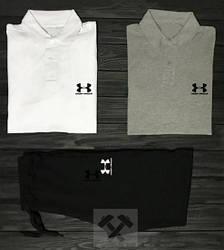 Мужской комплект две поло + шорты Under Armour серого, черного и белого цвета (люкс копия)