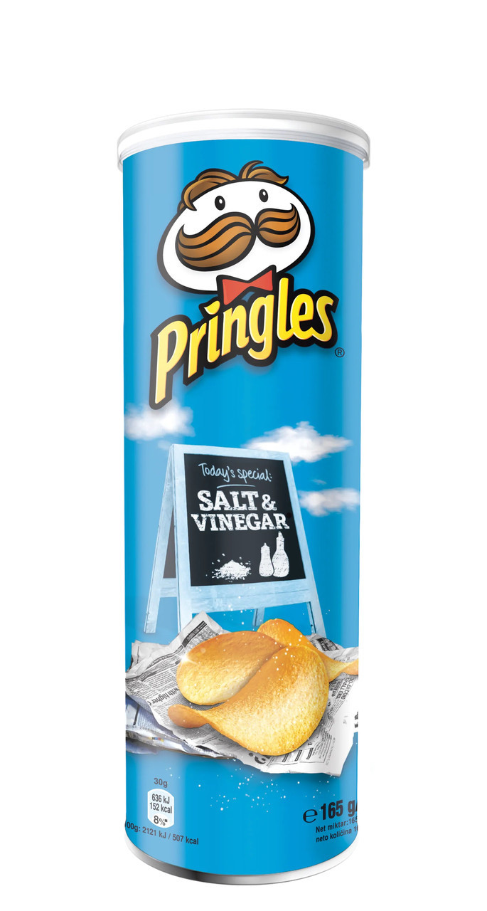 Чіпси Pringles Salt & Vinegar, сіль та оцет, 165г