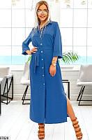 Платье летнее длинное женское повседневного стиля жатый хлопок 42-48р.,цвет джинсовый