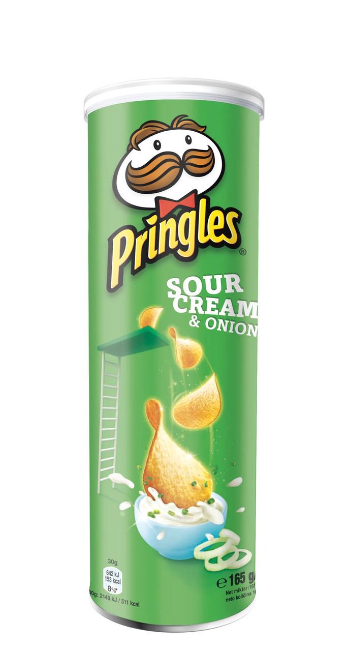 Чіпси Pringles Sourcream & Лук, сметана та цибуля, 165г