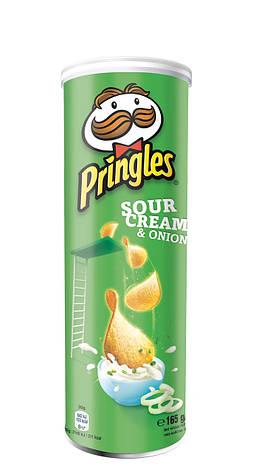 Чіпси Pringles Sourcream & Лук, сметана та цибуля, 165г, фото 2