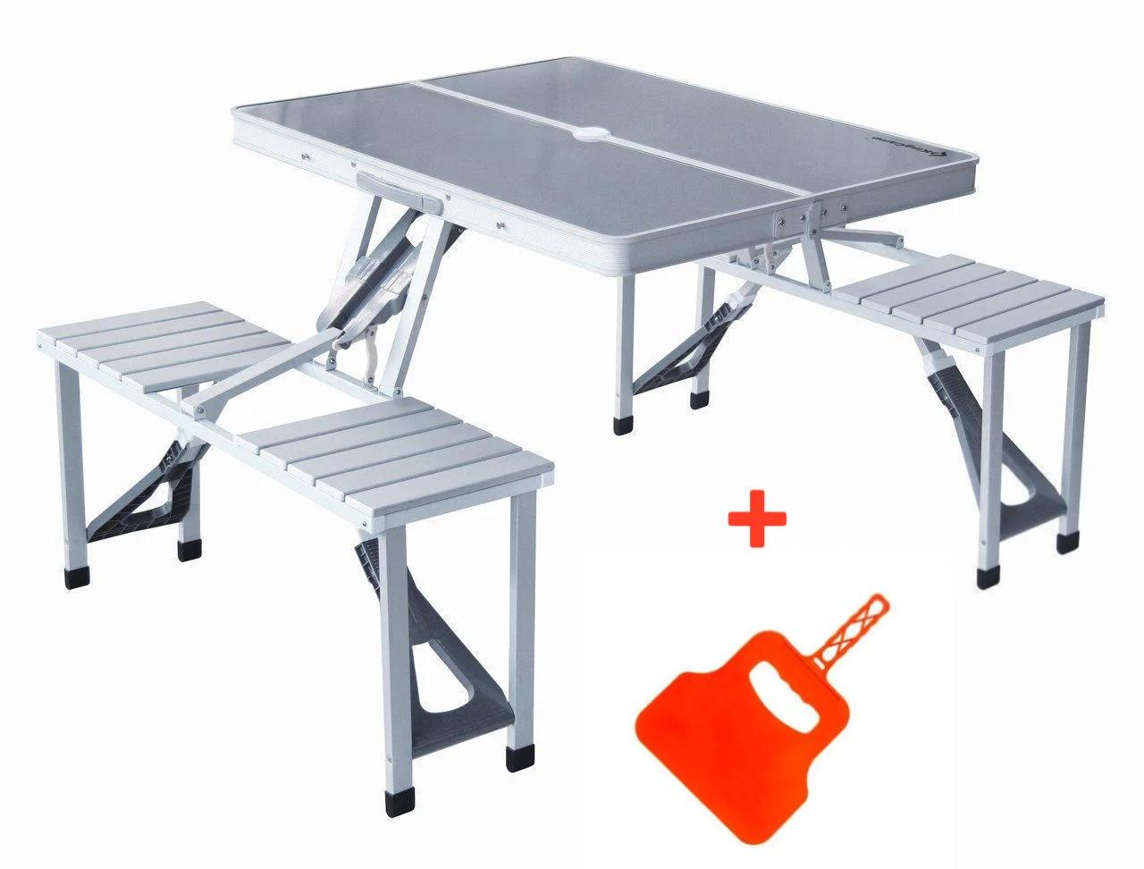 Алюминиевый складной ручной столик для пикника на 4 места | Стол-чемодан Folding Picnic Table