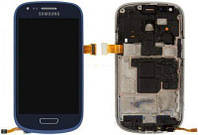 Дисплей Samsung Galaxy S3 mini I8190 с тачскрином и рамкой, оригинал, Blue