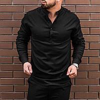 Рубашка мужская летняя льняная черная