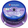 Диски CD/DVD/MD VERBATIM DVD+R 8,5Gb DL 8x Cake 25 pcs 43757