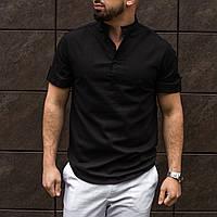 Рубашка мужская с коротким рукавом / летняя льняная черная