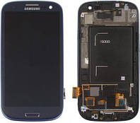 Дисплей Samsung Galaxy S3 + Touchscreen with frame (Super AMOLED, original) Blue