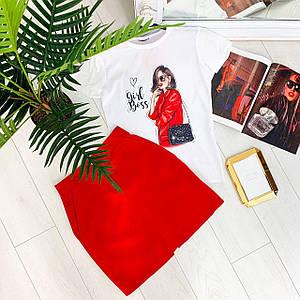 Женский летний комплект футболка с принтом и юбка трапеция 42-44 р
