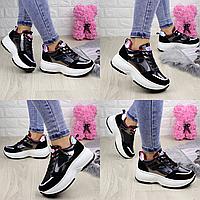 Женские кроссовки helen черные 1260  эко-замша эко-лак  Размер 39 - 25 см по стельке, обувь женская