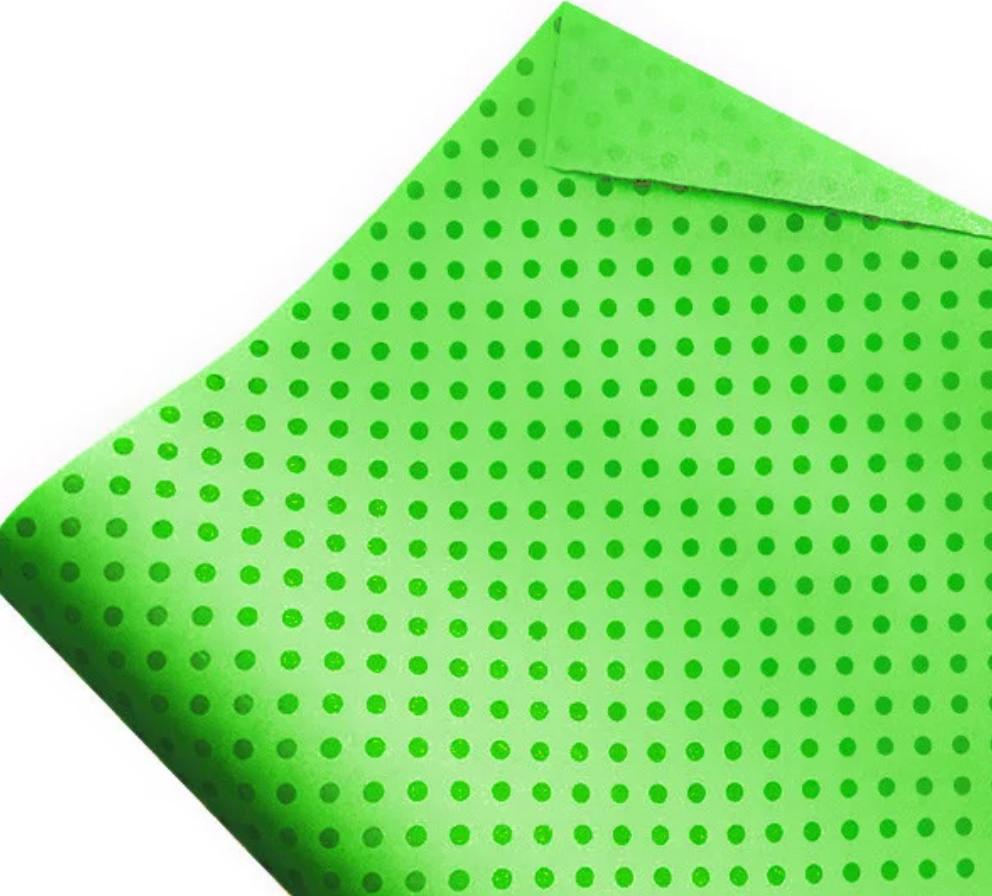 Бумага флористическая Горошки зеленые на салатовом