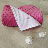 Плед для новорожденного в коляску плюшевый 80х100 Минки малиновый