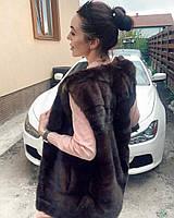 Женская норковая жилетка цельная норка канадская коричневого цвета размер  L M, фото 1