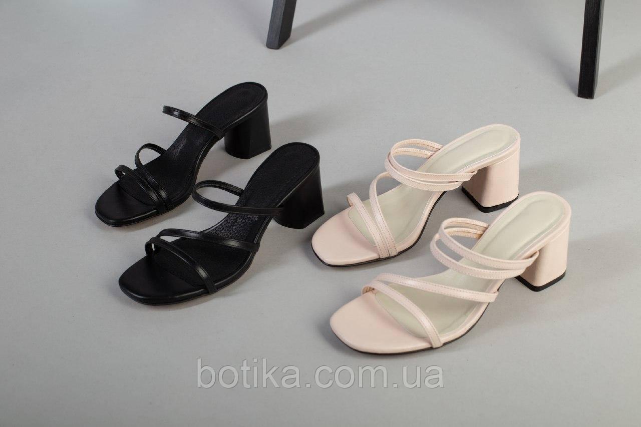 Изящные женские шлепанцы на каблуке
