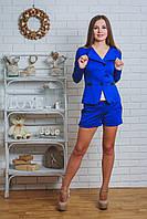 Костюм женский жакет с шортами электрик, фото 1