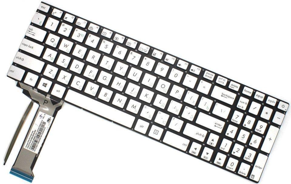 Клавіатура для ноутбука Asus (N551, N751 series) rus, silver, без кадру, підсвічування клавіш