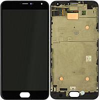 Дисплей Meizu Pro 5 с тачскрином и рамкой, копия, черный