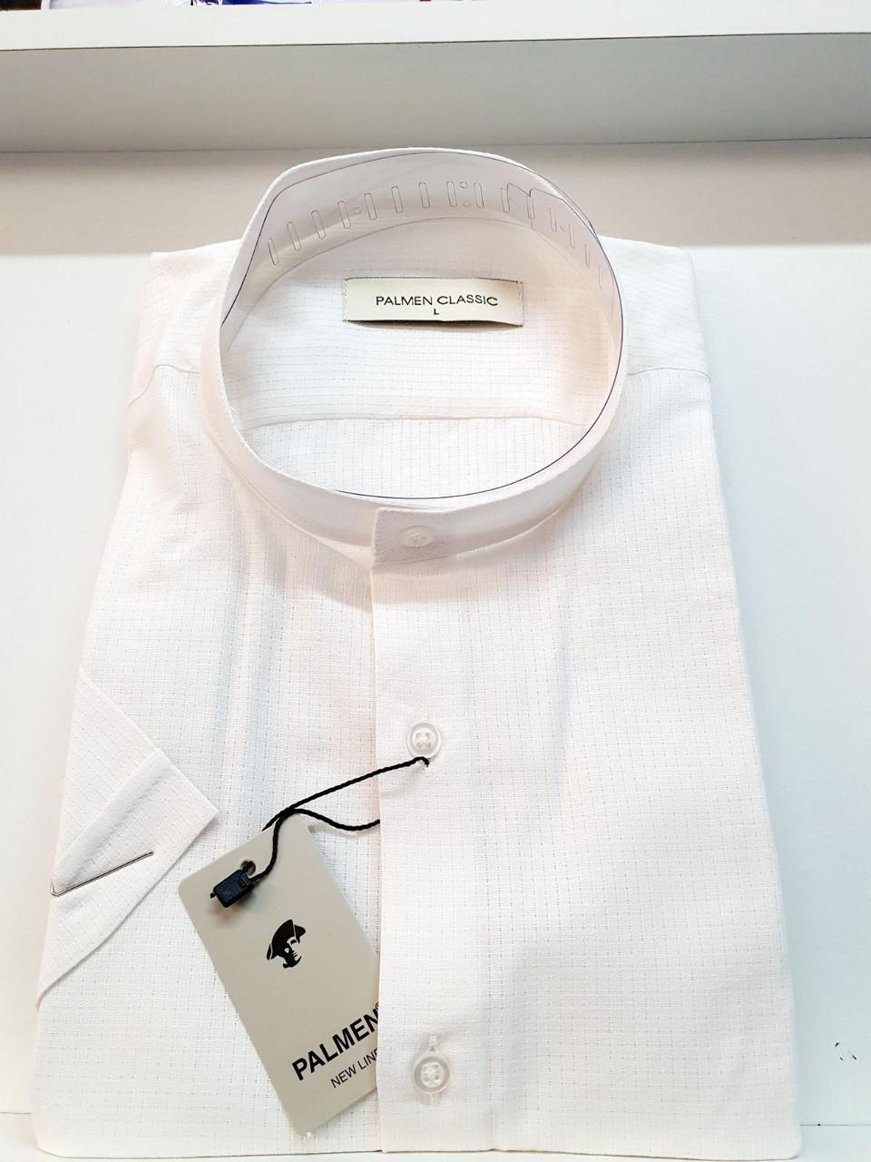 Рубашка короткий рукав Palmen лён стойка