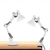 Настольная лампа со струбциной и подставкой под лампу E27 белая LOGA L-305