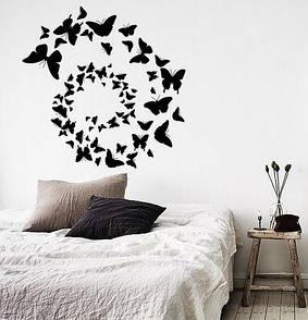 Інтер'єрна наклейка на стіну Вихор метеликів (махаон, спіраль, метелики)