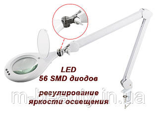 Настольная LED Лампа -лупа косметологическая мод. 8066-D5-U-3D (3 диопт.) + крепление к столу