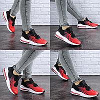 Женские кроссовки черные c красным Person 1728 Сетка . Размер 40 - 25 см. Обувь женская