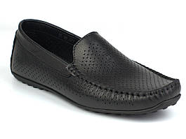 Літні м'які чорні шкіряні мокасини чоловіче взуття великих розмірів Rosso Avangard M4 Black Flotar Perf BS