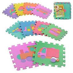 Детский развивающий игровой мягкий коврик-пазл (мат, татами) Мозаика Eva 0377 Техника