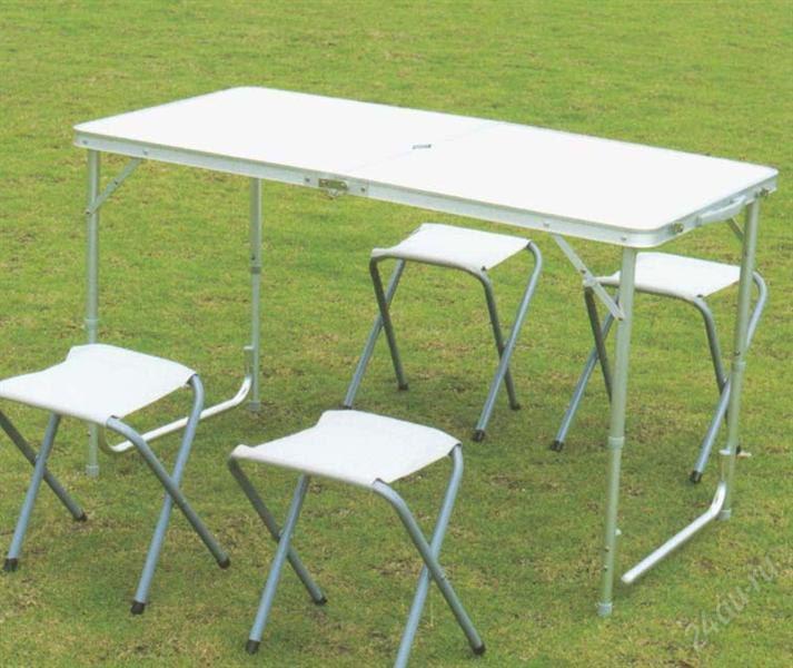Стол для пикника + 4 стула (Чемодан)- Белый