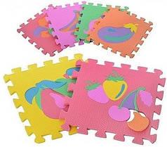 Детский развивающий игровой мягкий коврик-мозаикаМозаика Eva M 0376 фрукты