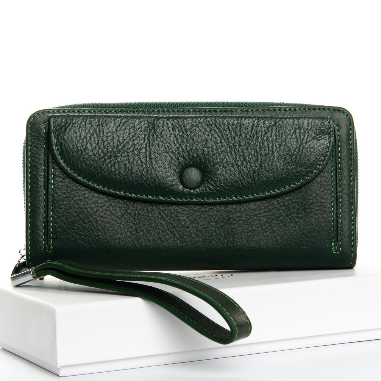 Жіночий гаманець шкіряний Зелений Classic DR. BOND WS-22 темно-зелений