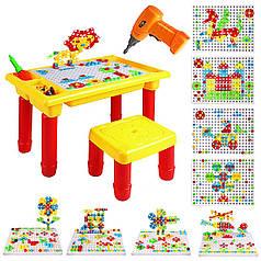Детская развивающая мозаика-конструктор c шуруповертом и столом 208 деталей Metr+ 675а