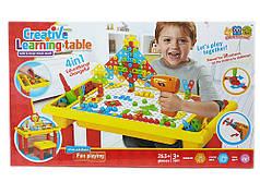 Детская развивающая мозаика-конструктор c шуруповертом и столом 263 деталей Metr+ 676а