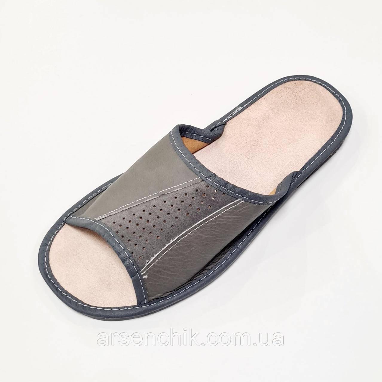 Домашние кожаные мужские тапочки 41