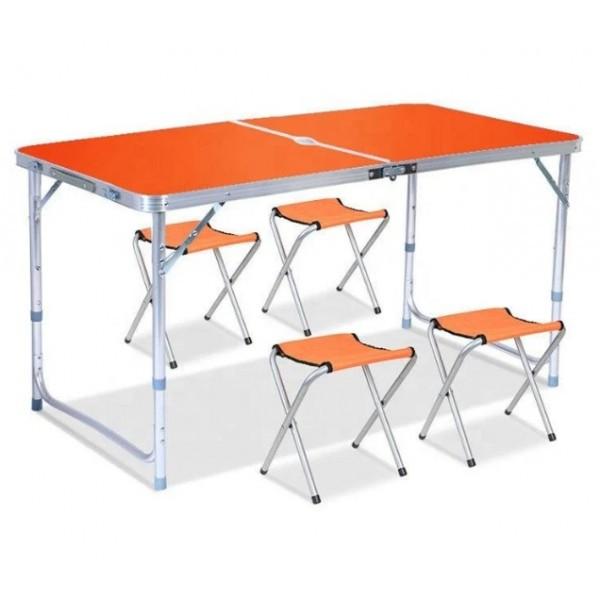 Стол для пикникаУСИЛЕННЫЙ + 4 стула (Чемодан)- Оранжевый