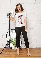 Женский костюм Футболка и брюки, размеры: 48-62 розовый рисунок