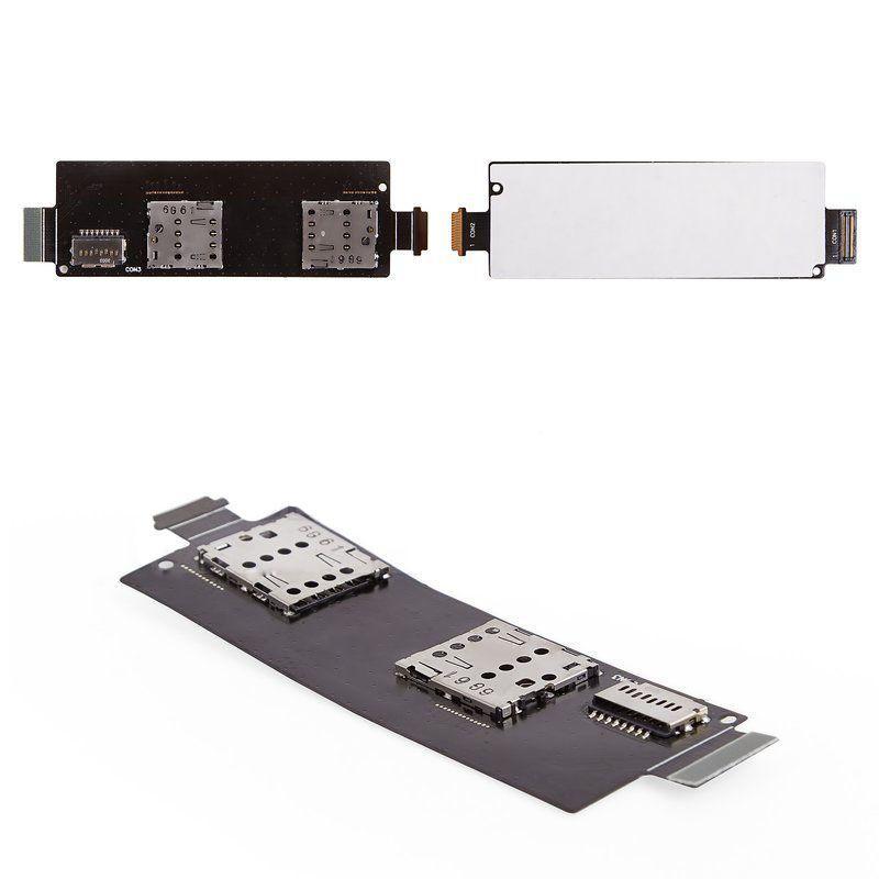 Коннектор SIM-карты Asus ZenFone 5 (A500CG/A501CG) на шлейфе на две Sim-карты