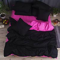 Полуторное однотонное постельное белье Бязь Премиум - Черный с розовым