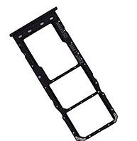 Лоток для сим карты и карты памяти для Samsung A105F Galaxy A10, черный, на две Sim-карты