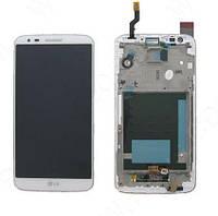 Дисплей (экран) для телефона LG G2 D802, G2 D805 + Touchscreen with frame (original) White, фото 1