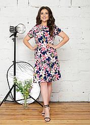 Женское летнее платье с воланом внизу, синее. Размеры 48-62